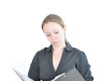 Young woman reading file royalty free stock photo