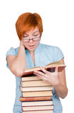 Young woman reading interesting book Royalty Free Stock Photography