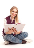 Young woman reading magazine Stock Photography