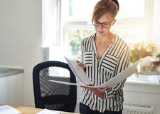 Young woman reading notes in an office binder. Young business woman standing in her home office reading notes in an office binder backlit by the glow of the sun Royalty Free Stock Photo