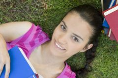 Young woman reading outdoor Stock Photo