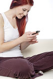Young woman reading text's Royalty Free Stock Photography