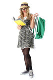 Young Woman Reading Wearing Glasses Holding Green Bag Stock Photo
