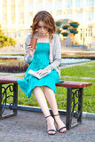 Young woman reads book. Stock Image
