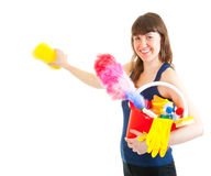Young woman is ready for cleaning Stock Photos