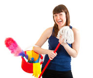 Young woman is ready for cleaning Stock Image