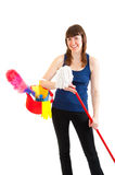 Young woman is ready for cleaning Royalty Free Stock Images