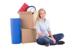 Young woman ready for moving day isolated on white Royalty Free Stock Photos