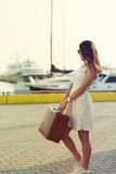 Young woman ready for sea cruise Royalty Free Stock Photos