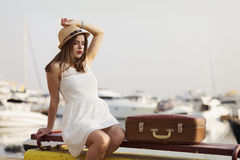 Young woman ready for sea cruise Stock Photos