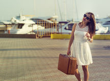 Young woman ready for sea cruise Stock Photography