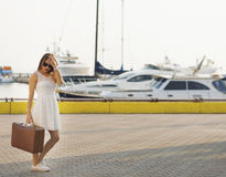 Young woman ready for sea cruise Stock Images