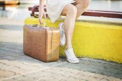 Young woman ready for sea cruise Stock Photos