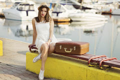 Young woman ready for sea cruise Royalty Free Stock Image