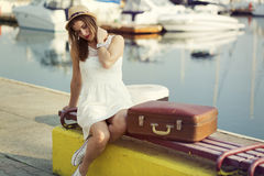 Young woman ready for sea cruise Royalty Free Stock Images