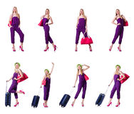 The young woman ready for summer vacation on white Stock Photography