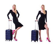 The young woman ready for summer vacation on white Stock Image