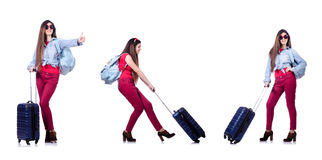The young woman ready for summer vacation on white Royalty Free Stock Photography