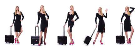 The young woman ready for summer vacation on white Royalty Free Stock Images