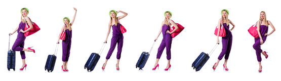 The young woman ready for summer vacation on white Royalty Free Stock Image