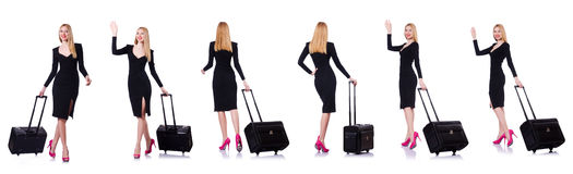 The young woman ready for summer vacation on white Stock Photo