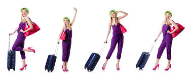 The young woman ready for summer vacation on white Stock Photos