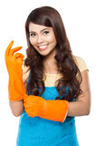 Young woman ready to do some cleaning. Stock Photo
