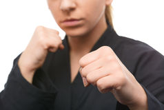 Young woman is ready to fight Royalty Free Stock Photos