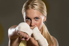 Young Woman Ready To Fight Stock Photos