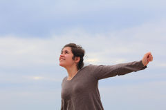 Young woman is ready to fly Royalty Free Stock Photos