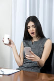 Young woman received bad news on mobile. Royalty Free Stock Photos