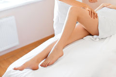Young Woman Receiving Leg Massage at Spa Center. Body Care Stock Photography