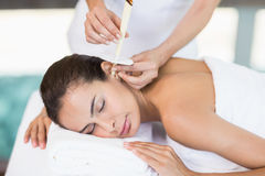 Young woman receiving spa treatment Stock Photos