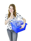 Young woman with recycling box Royalty Free Stock Images