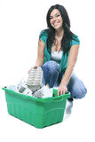 Young woman recycling wearing with green clothe Stock Image