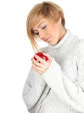Young woman with red apple Royalty Free Stock Photos