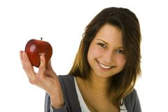 Young woman with red apple Stock Photos