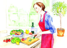 Young woman in red apron cooking healthy food. Hand Painted Watercolor Illustration: Young woman in red apron cooking healthy food Royalty Free Stock Photography