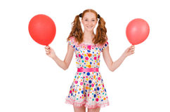 Young woman with red balloon isolated Stock Image