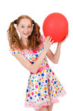 Young woman with red balloon isolated Stock Images