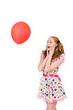 Young woman with red balloon isolated Royalty Free Stock Photography