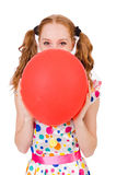 Young woman with red balloon isolated Royalty Free Stock Photos