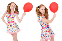 The young woman with red balloon isolated on white Royalty Free Stock Images
