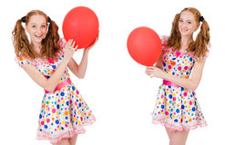 The young woman with red balloon isolated on white Royalty Free Stock Photo