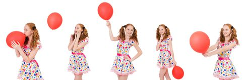 The young woman with red balloon isolated on white Stock Photography