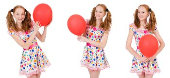 The young woman with red balloon isolated on white Royalty Free Stock Image