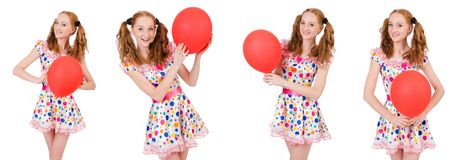 The young woman with red balloon isolated on white Royalty Free Stock Photos