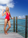 The young woman in a red bathing suit on sea background Stock Images