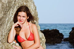Young woman in red bikini Royalty Free Stock Image