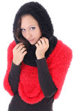 Young woman in red and black poncho Royalty Free Stock Photos